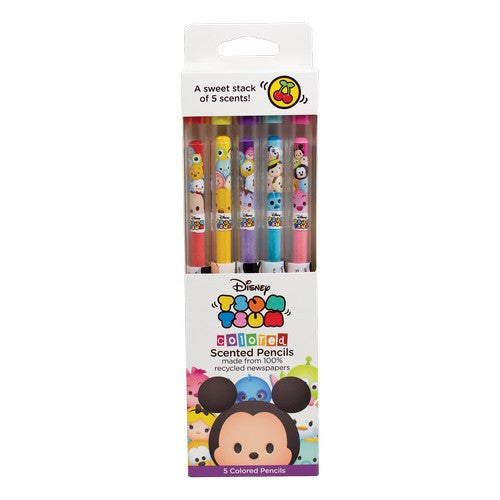 Disney Tsum Tsum 香FUN筆 DT4006 (彩色鉛筆-5支裝) Colored Smencils 5-pack (DT4006) - Young Vision - www.yv.com.hk