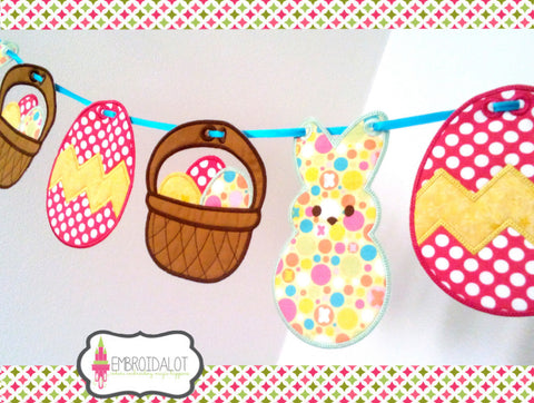 Easter egg bunting in the hoop.