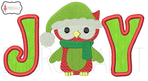 """Joy"" Christmas owl applique."