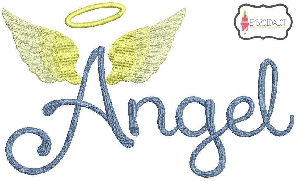 Angel wings text.
