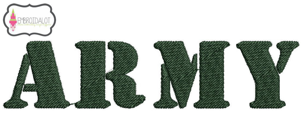 Army text embroidery.