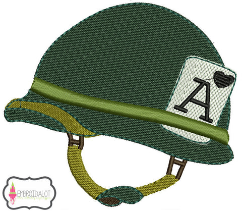 Army helmet embroidery.