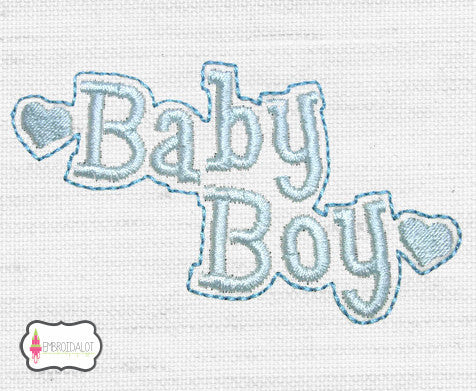 """Baby Boy"" text embroidery."