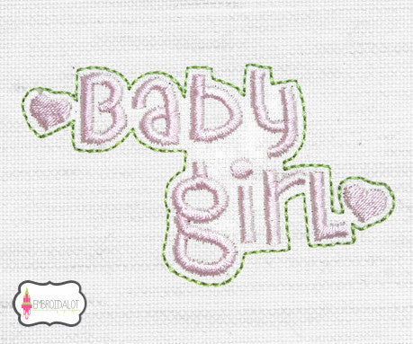 """Baby Girl"" text embroidery."