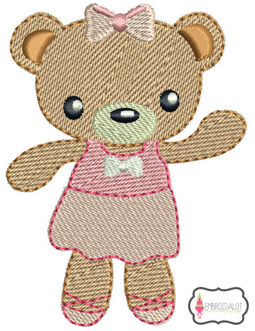 Ballerina bear embroidery 2.