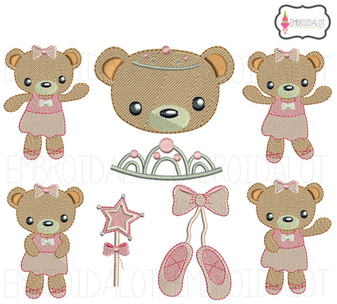 Ballerina bear embroidery set.