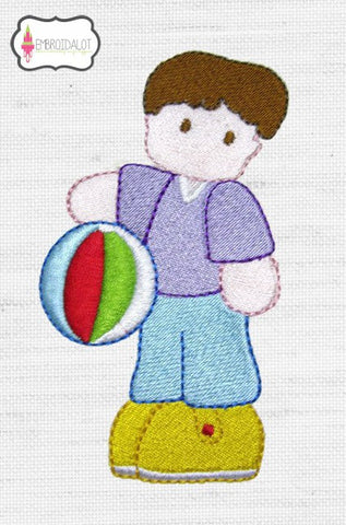 Boy with beach ball embroidery.