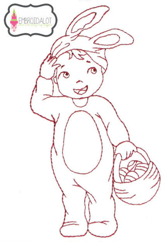 Boy with easter basket redwork embroidery.