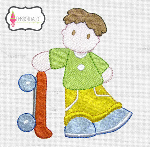 Boy with skateboard embroidery.