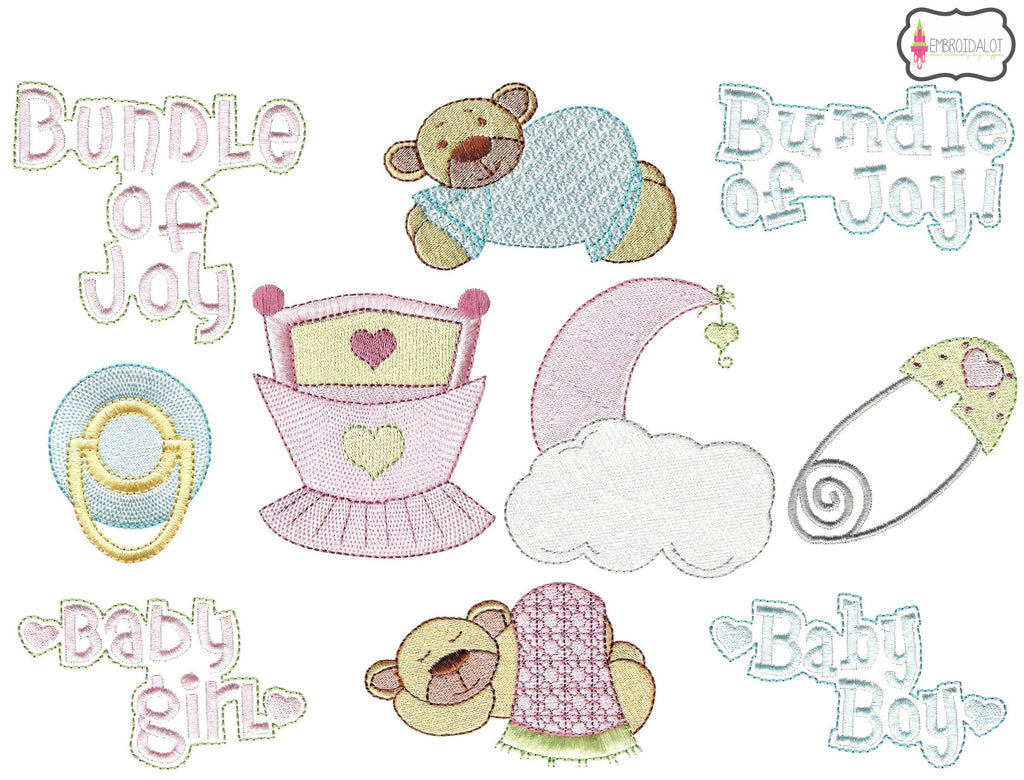 """Bundle of Joy"" baby embroidery set."
