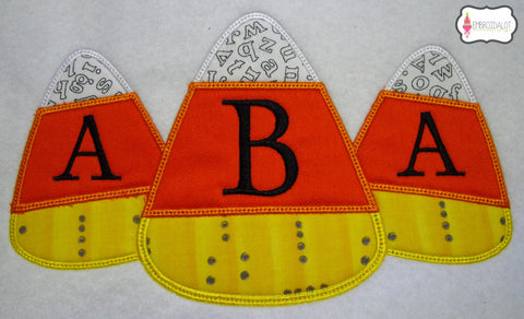 Candy corn trio frame embroidery.