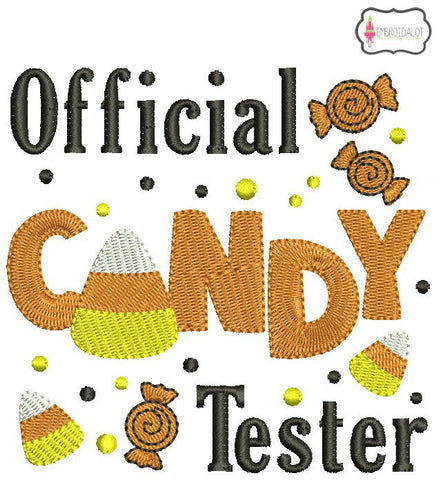 """Official candy tester"" embroidery."
