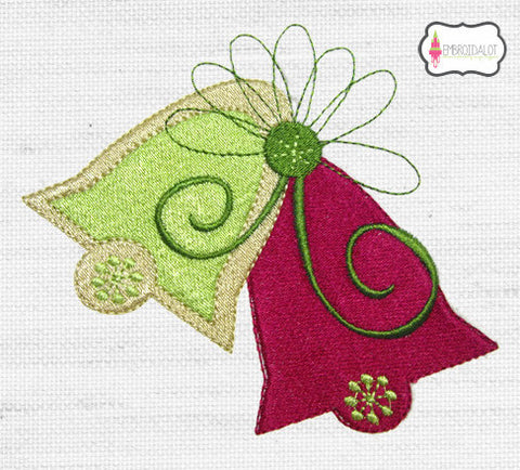 Modern Christmas bells embroidery.