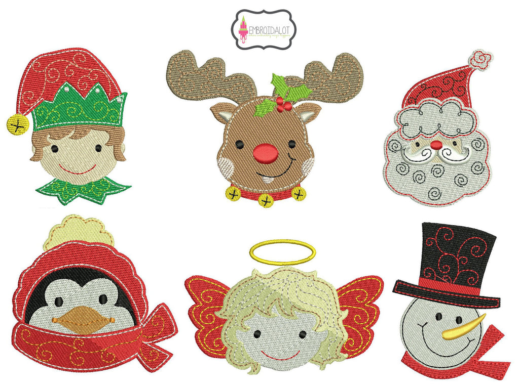 Christmas faces embroidery set.