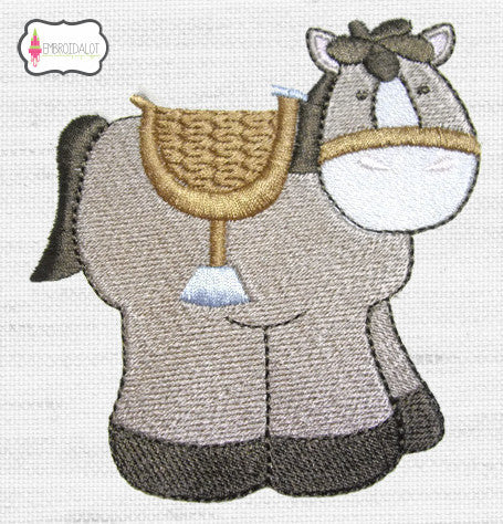 Chubby horse with saddle embroidery design.