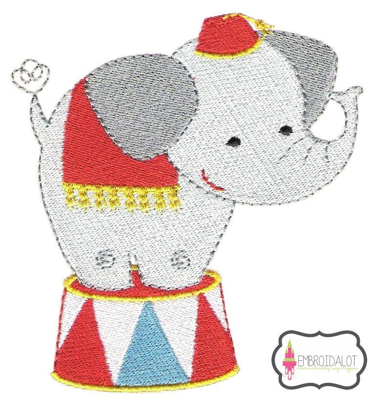 Circus elephant embroidery.