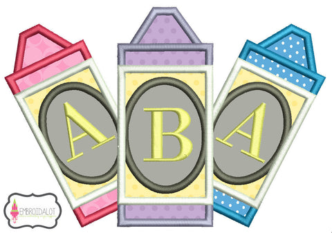 Crayon monogram frame applique.