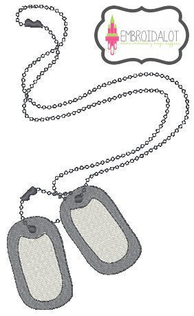 Army dogtags embroidery.