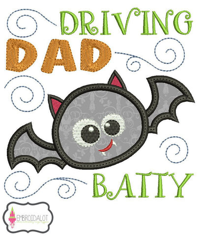 Driving dad batty applique.