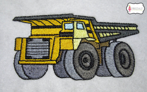 Dump truck embroidery.