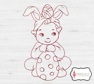 Boy sitting with eggs redwork embroidery.