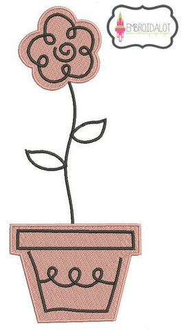 Flowerpot embroidery design.