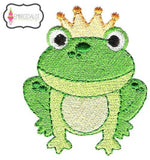 Frog prince embroidery design.