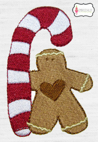 Gingerbread man embroidery.