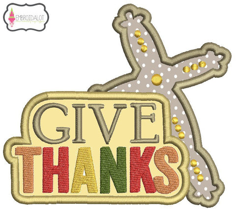 """Give Thanks"" applique."