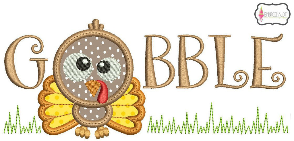 """Gobble"" applique or filled embroidery."