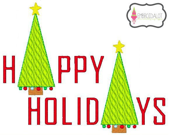 """Happy Holidays"" embroidery design."