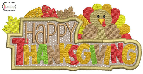 """Happy Thanksgiving"" applique."
