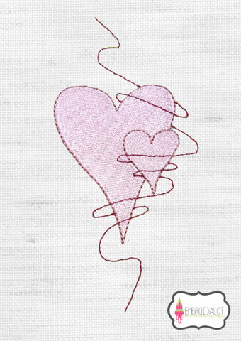 Hearts embroidery design 5.