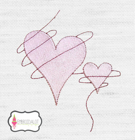 Hearts embroidery design 1.