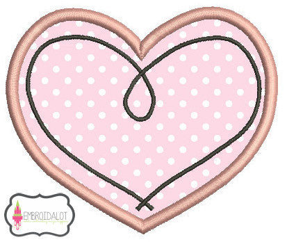 Heart applique embroidery.