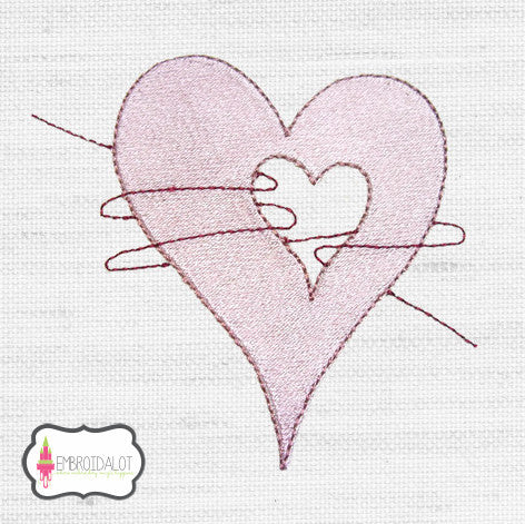 Hearts embroidery design 2.