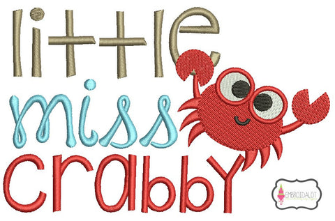 """Little Miss Crabby"" embroidery design."