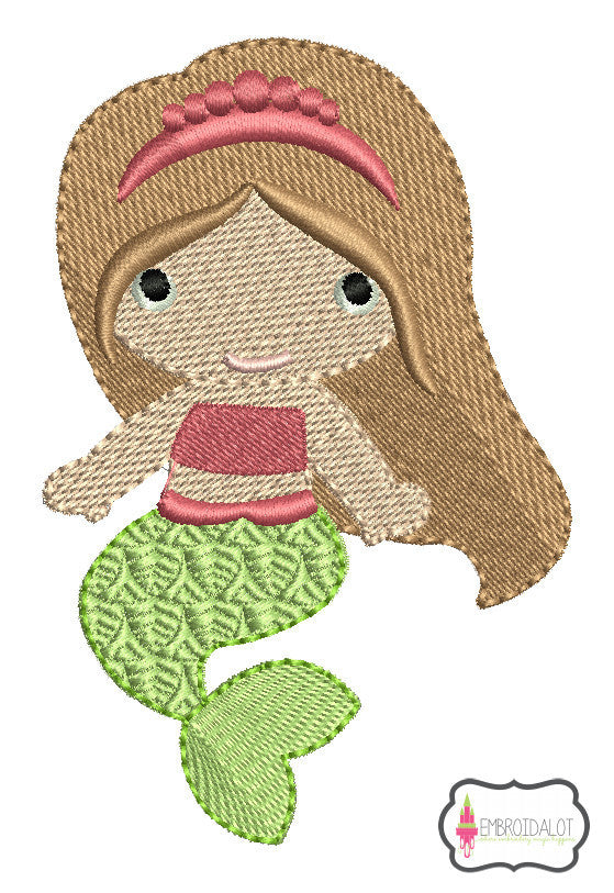 Pretty mermaid embroidery design 1.
