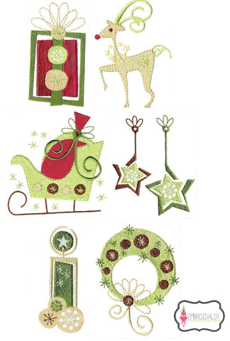 Modern Christmas embroidery set.