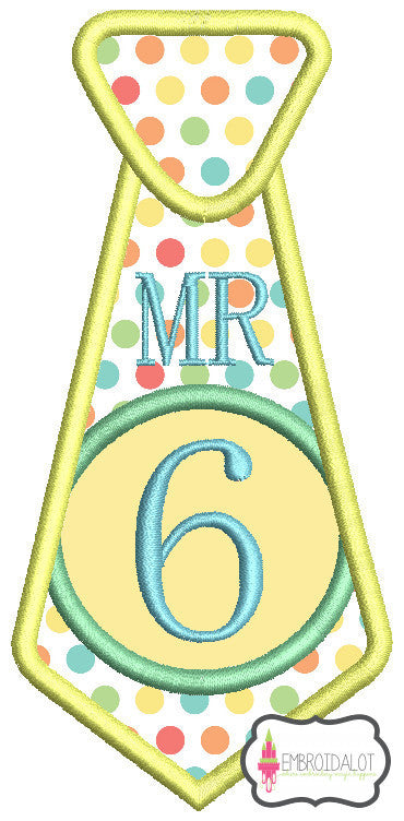 "Tie ""Mr 6"" applique."