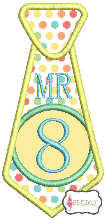 "Tie ""Mr 8"" applique."