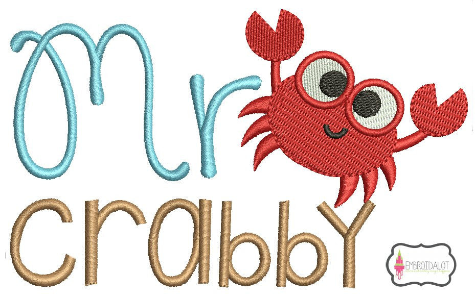 """Mr Crabby"" embroidery design."