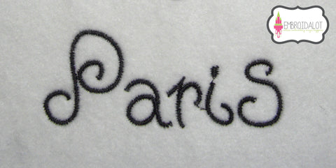 """Paris"" text embroidery."