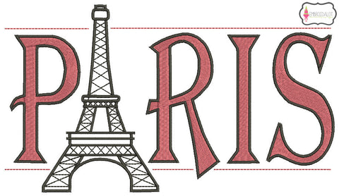 """Paris"" embroidery with Eiffel tower.."