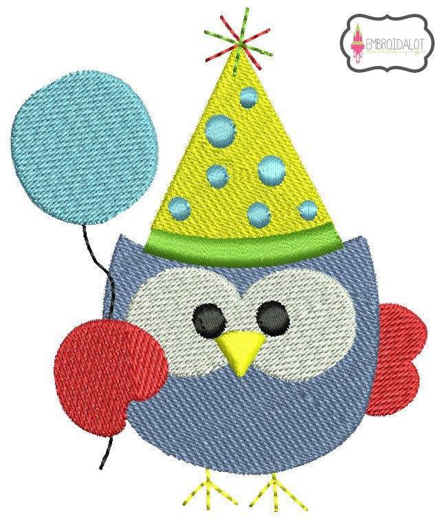 Party owl embroidery.