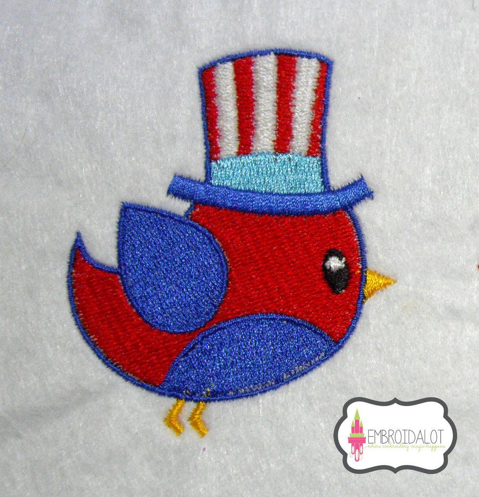 Patriot bird embroidery design.