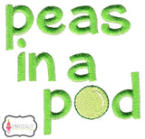 Peas in a pod embroidery.