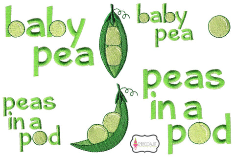 Garden peas embroidery set.