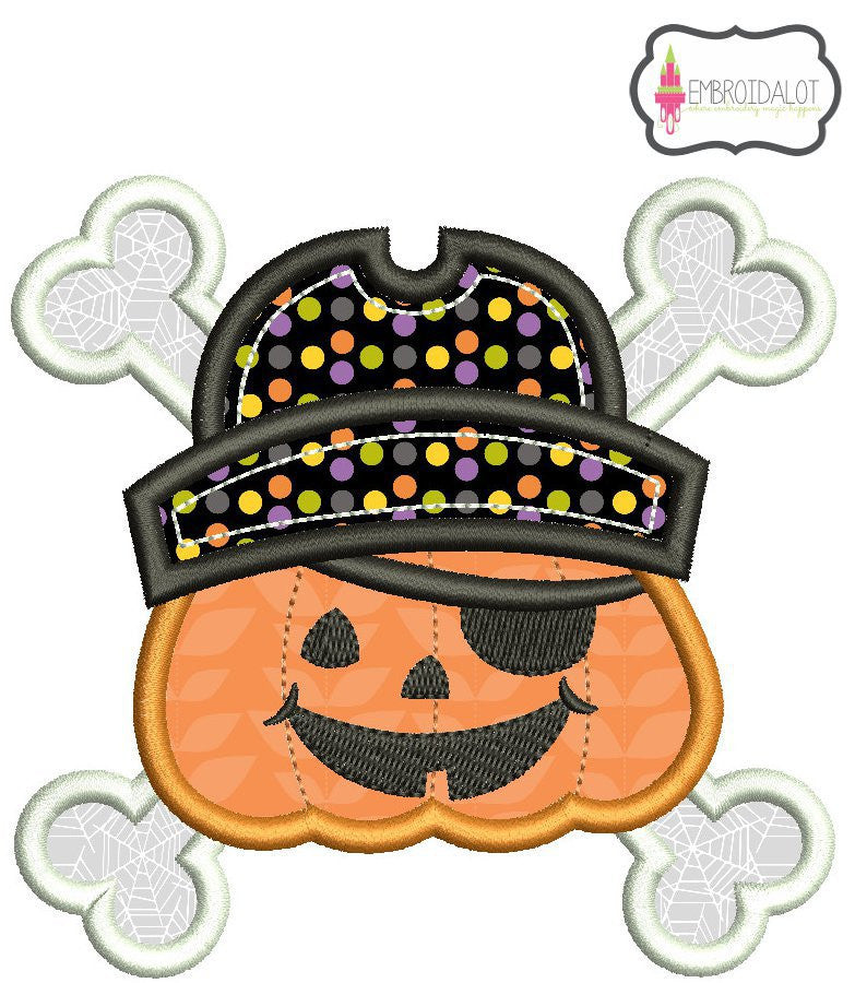 Pirate Jack O'Lantern applique.