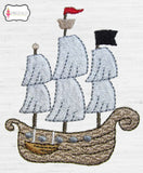 Pirate ship embroidery.